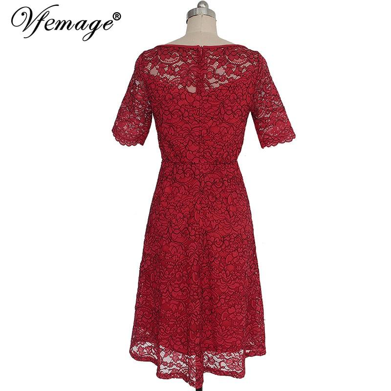 vfemage женские элегантные кружево пикантные видеть сквозь туника повседневное клуб невесты мать невесты платье приталенное трапеция платье 3977
