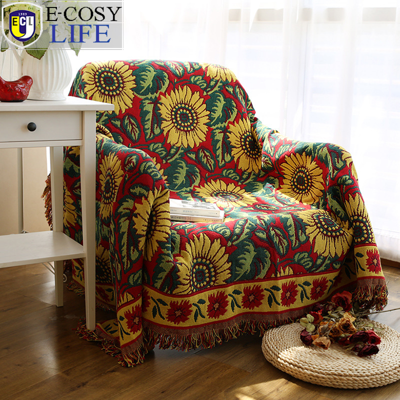 ФОТО Yellow Knitted Vintage Sunflower Cotton Fringed Blanket For Winter Bed Sofa Throw Picnic , Flower Warm Cotton Knitted Blanket