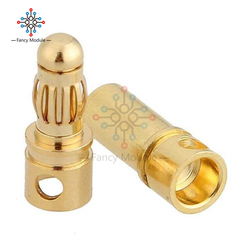 цена на 10Pairs(=20pcs/lot) 3.5mm Gold Plated Male Female Bullet Banana Connector Plug For ESC Battery Motor