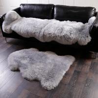 Grey Artificial Faux Sheepskin Sofa Carpet Skin Fur Plain long Fluffy Bedroom Rug Bay Window Mat Bedsides Foot pad Easy Wash