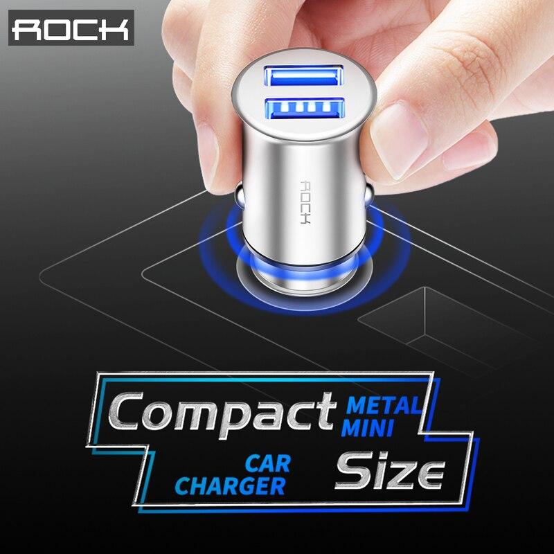 Double USB Chargeur De Voiture ROCK En Métal Universel Compact Mini Taille 4.8A 2 USB Chargeur De Voiture Adaptateur pour Mobile Téléphones pour Tablet PC