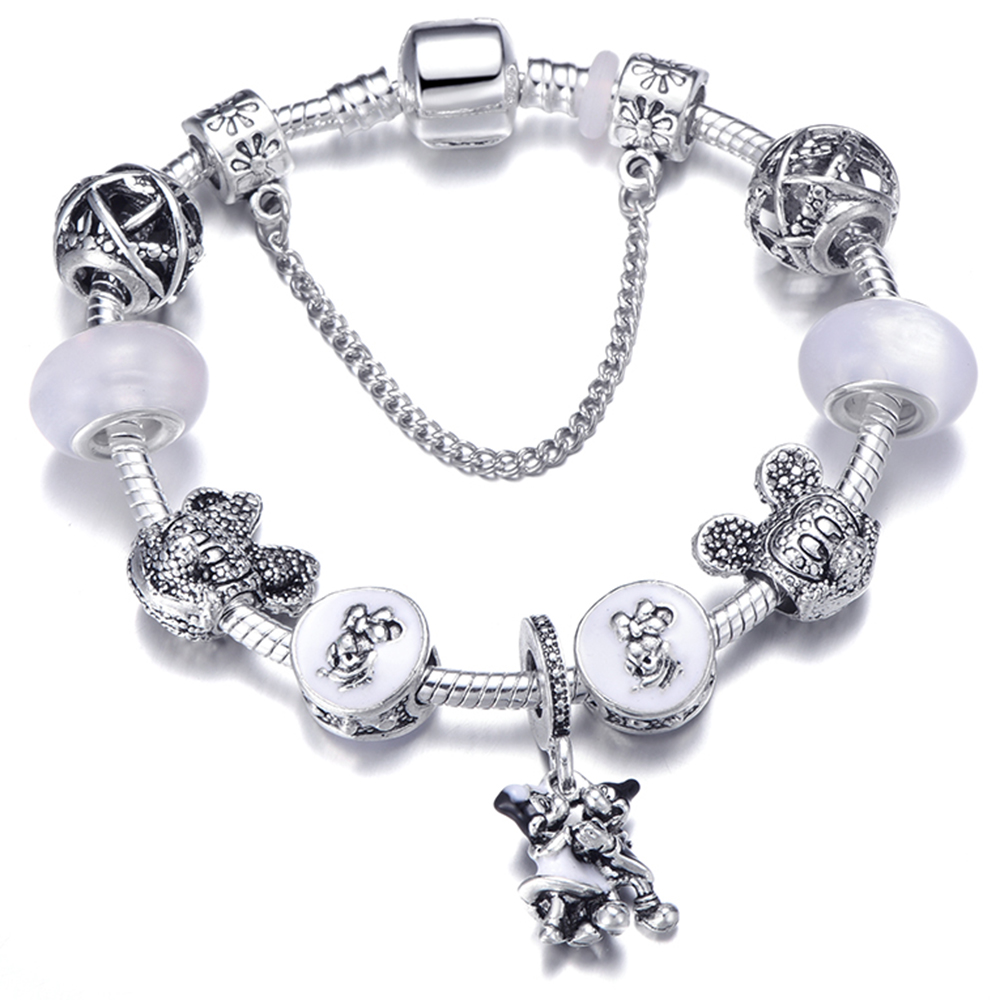 2019 New Fashion Cute Mickey Minnie Beads Safety Chain DIY Fit Charm Bracelets Hots Brand Jewelry Accessories