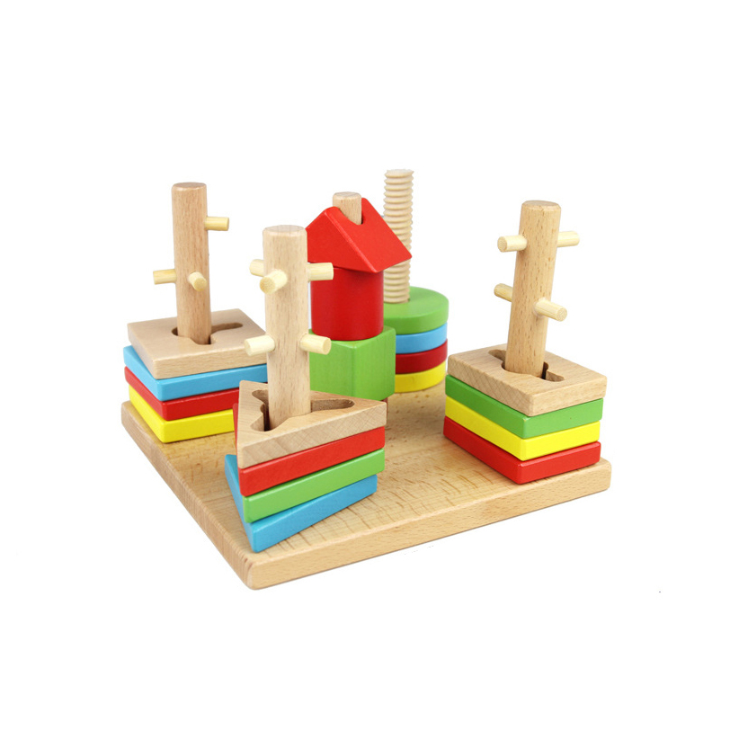 ФОТО Chanycore Baby Learning Educational Wooden Toys Geometric Shape Blocks Column Board Sorting Matching zhb Montessori Gifts 4099
