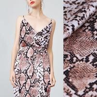 108CM Wide 19MM Snake Skin Print 93% Silk & 7% Spandex Stretch Silk Satin Fabric for Summer Dress Cheongsam Pants B144