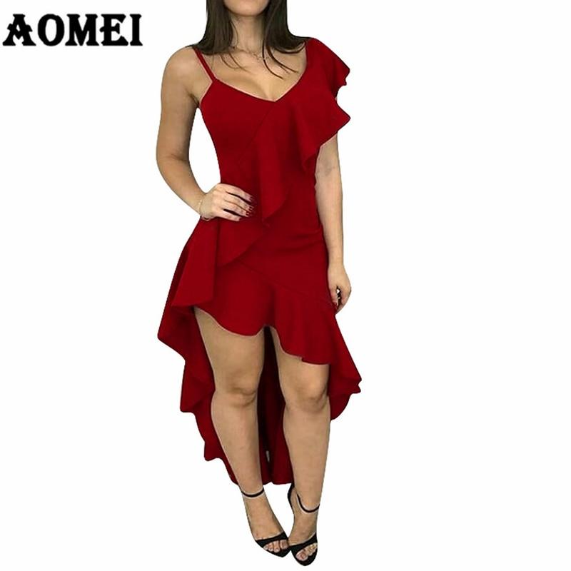 Женские вечерние платья с асимметричным рукавом, высокая низкая дамская модная вечерняя Клубная одежда, сексуальные тонкие красные платья,...