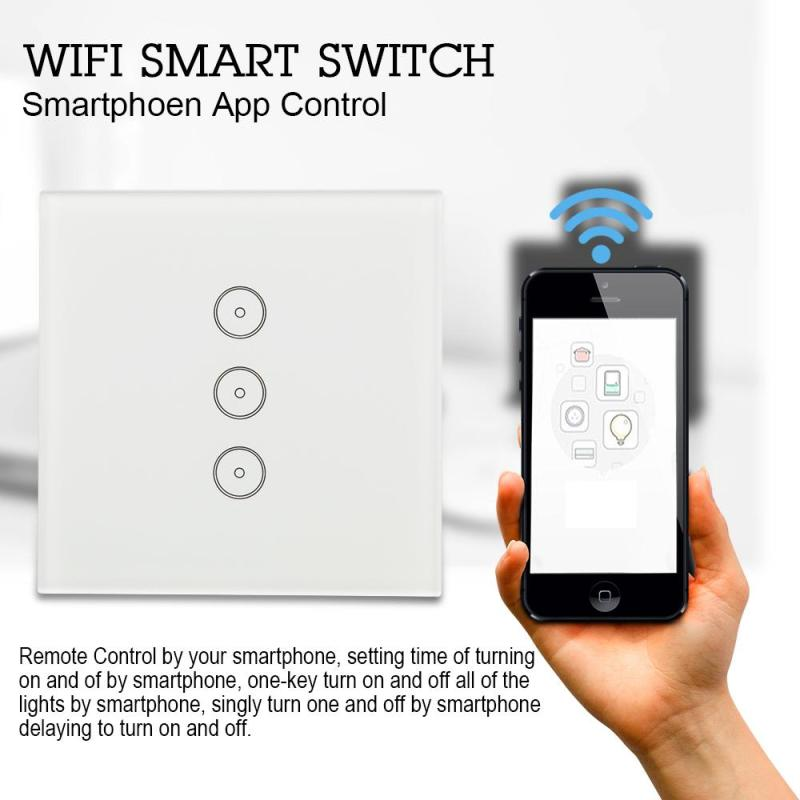 AC 110V 220V 3 Way US Standard Wall Light Remote Control Touch Switch Screen Switch Smart Home Wifi Wireless Touch Screen Switch smart home uk standard crystal glass panel wireless remote control 1 gang 1 way wall touch switch screen light switch ac 220v
