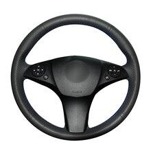 יד תפור שחור PU מלאכותי עור רכב הגה כיסוי עבור מרצדס בנץ C180 C200 C350 C300 CLS 280 300 350 500 GLK