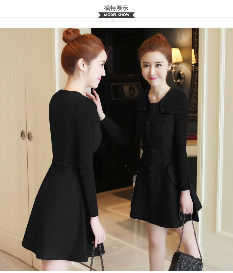 winter new round collar single-breasted cloth dress belt buttons A word women dresses Korean fashion outfit lady vogue vestido 33