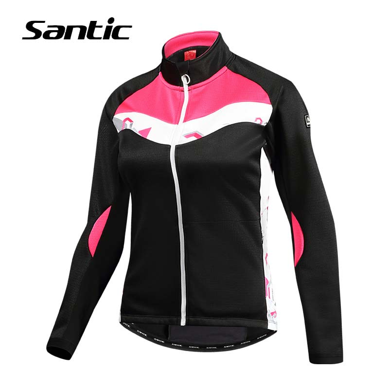 Santic Cycling Windproof Jacket Warm Road MTB Bike Jacket Women Winter Fleece Thermal Bicycle Clothing Riding Donwhill Jersey santic winter men cycling jersey with hooded fleece blue warm cycling clothing thermal mtb windproof cycling wear mc01054