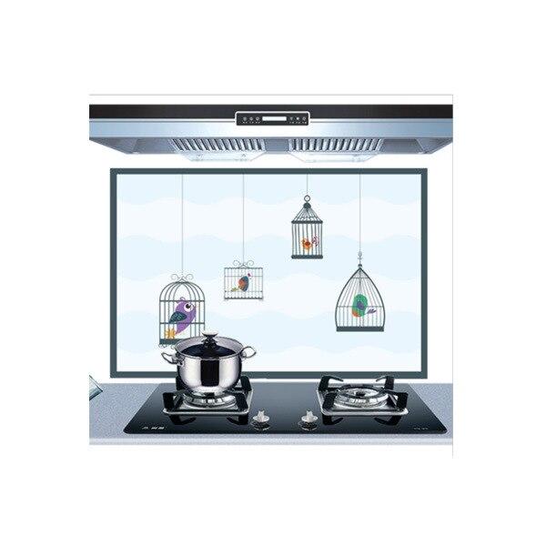 Самоклеющиеся обои для кухни из алюминиевой фольги, наклейки для кухонного шкафа, маслостойкие водонепроницаемые Мультяшные наклейки на стену - Цвет: A