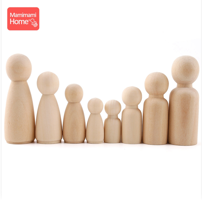 Mamihome 50pc Baby Wooden Peg Dolls Unfinished Wooden Peg Doll Maple Wood Rodent Montessori Toys Children'S Goods Boy Girl Gifts