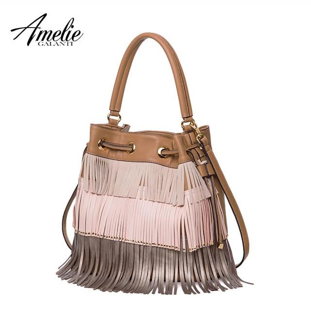 AMELIE GALATI Women's Bag Retro Fashion Bucket with Multi-color Tassel String Women Shoulder Bags Soft PU Leather Crossbody Bags