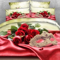 Royal Linen Source Brand 4PCS PER SET Sexy Masquerare Mask and Red Roses stunning 3d bed linen set 3d Bed Sheet Set