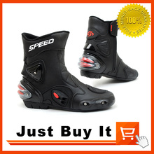 Great Quality Racing Motorcycle shoes Racing Boots Cross-country boots Competition Shoes Dirt Rider boots Skid SPEED BLACK WHITE