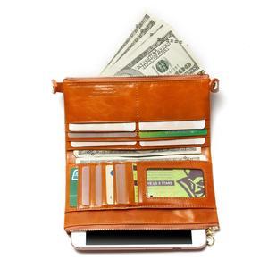 Image 3 - Kadın cüzdan hakiki deri orta uzun organizatör cüzdan yağ balmumu inek derisi çile Vintage Lady debriyaj Carteira Feminina çanta
