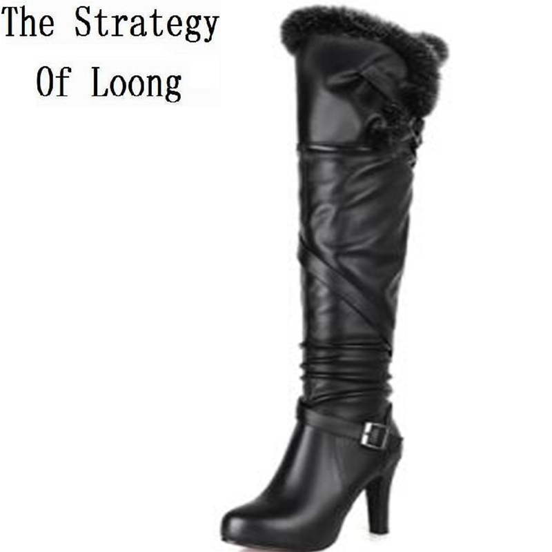 Women Winter Thin High Heel Genuine Leather Rabbit Fur Side Zip Buckle Round Toe Fashion Over The Knee Boots Size 34-39 SXQ0803 large size 34 41 simple leisure height increasing round toe zip women boots winter genuine leather solid knee high boots