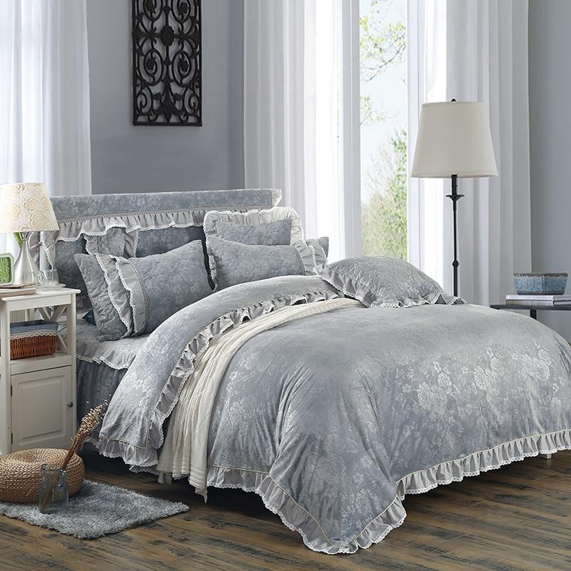 Fleece fabric warm Bedding set grey luxury Embossing duvet