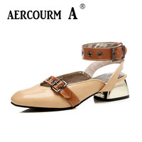 Aercourm A Summer Sandals Women PU Leather Sandals Shoes Girls Black Solid Shoes 2018 Square High