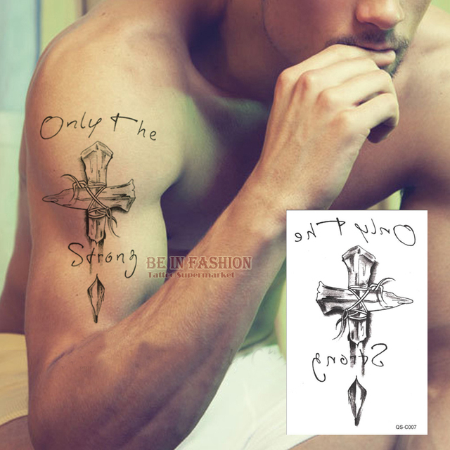 ee5c41874d6c9 Temporary tattoos neck back cross 3D men arm shoulder fake spray transfer  sexy tattoo stickers waterproof