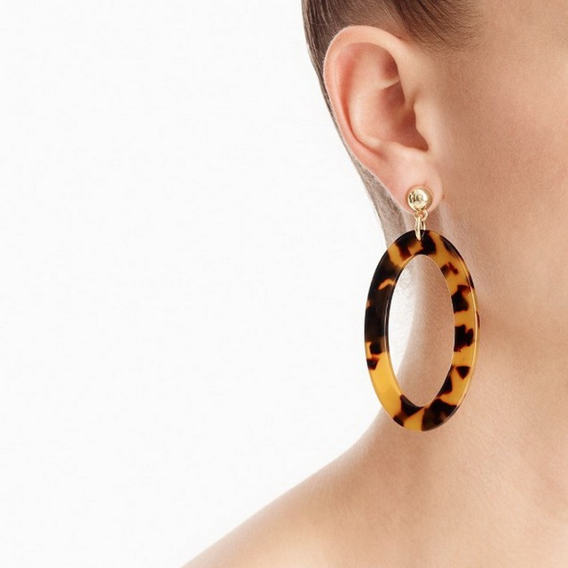 8 Colors Acrylic Oval Drop Tortoise Earrings Light Weight Cut Out Resin Hollow Round Dangle