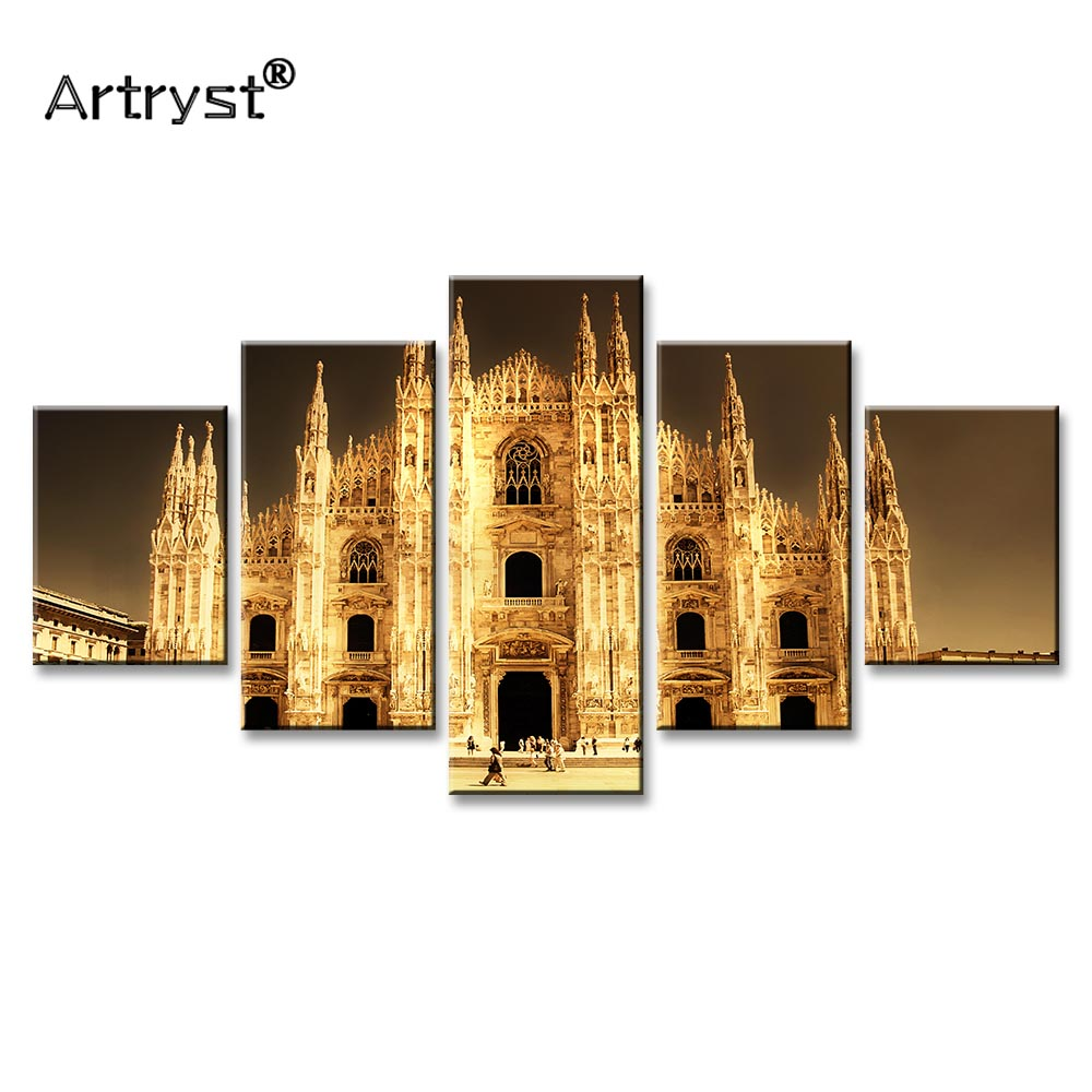 Modern HD Print 5 Pcs Modular Modular Home Cuadros Decor Wall Art Canvas Painting Milan Cathedral Landscape Posters And Prints