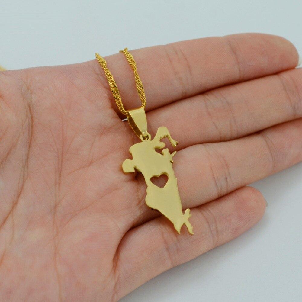 Anniyo Heart The Kingdom of Bahrain Map Gold Color Pendant & Thin ...