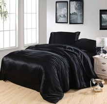 Black Silk bedding set satin super king size queen double quilt duvet cover fitted sheets bed in a bag bedspread doona 4pcs 6pcs silk sheets bedding set white cream silk satin super king size queen double doona duvet cover fitted bed sheets bedspreads 6pcs