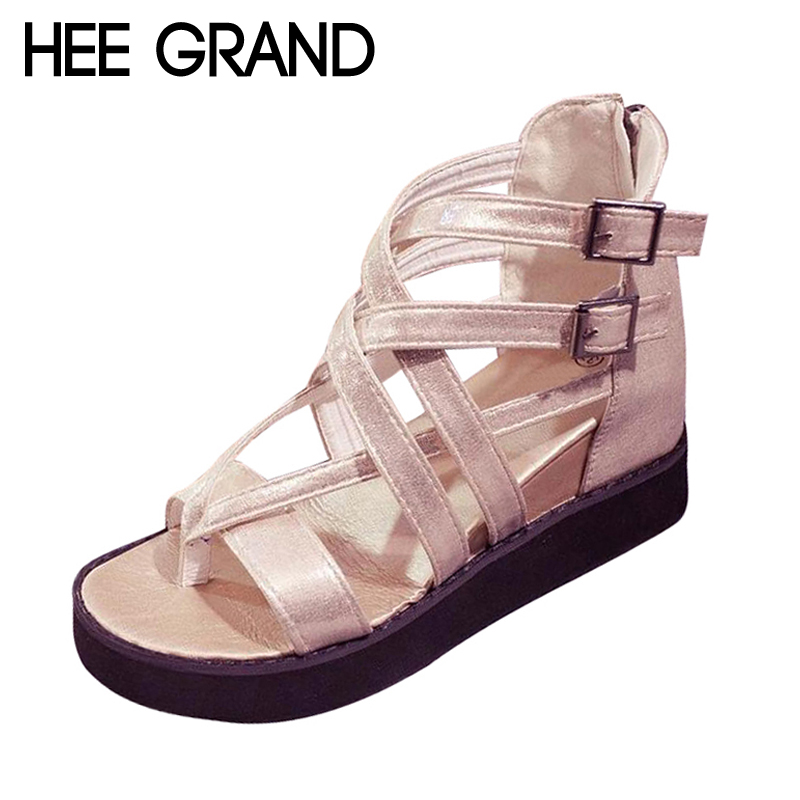 HEE GRAND Cross Buckle Women's Sandals Height Increasing Platform Summer Shoes Woman Gladiator Wedges Sandals XWZ3784 phyanic 2017 gladiator sandals gold silver shoes woman summer platform wedges glitters creepers casual women shoes phy3323
