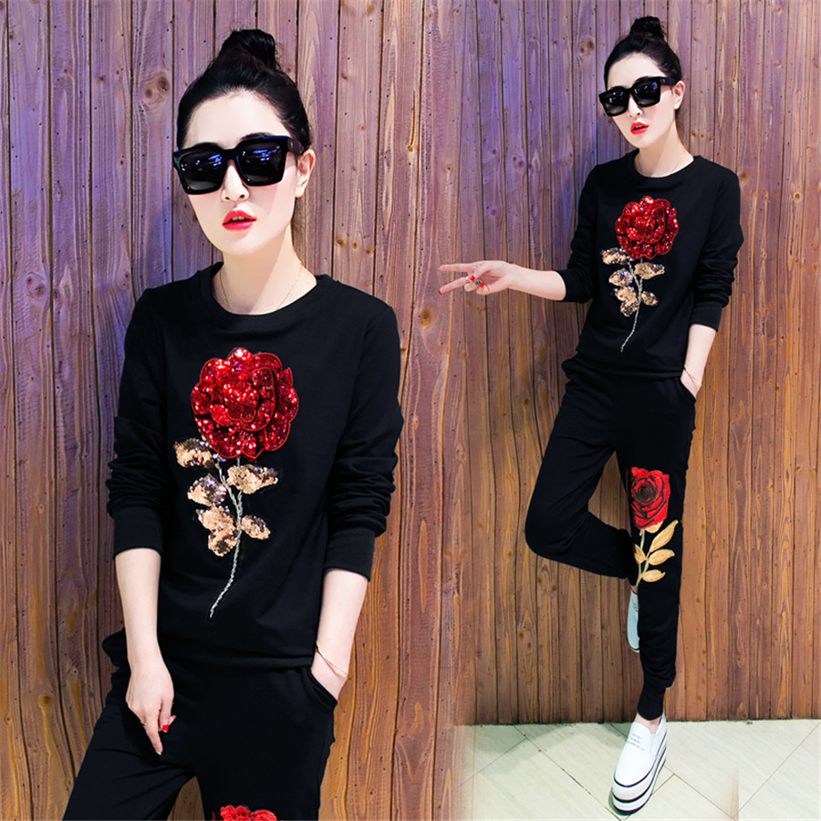 2019 Spring Women Suit Rose Trousers Suit With Sequins 2 Piece Set Women's Tracksuits Pullover Female Set Clothing Plus Size 3XL