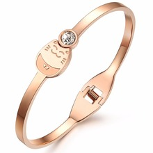Heyrock Women's Cubic Inlaid Crystal Lucky Cat Rose Gold Color Cuff Bangle Bracelet Stainless Steel Cartoon Animal Jewelry