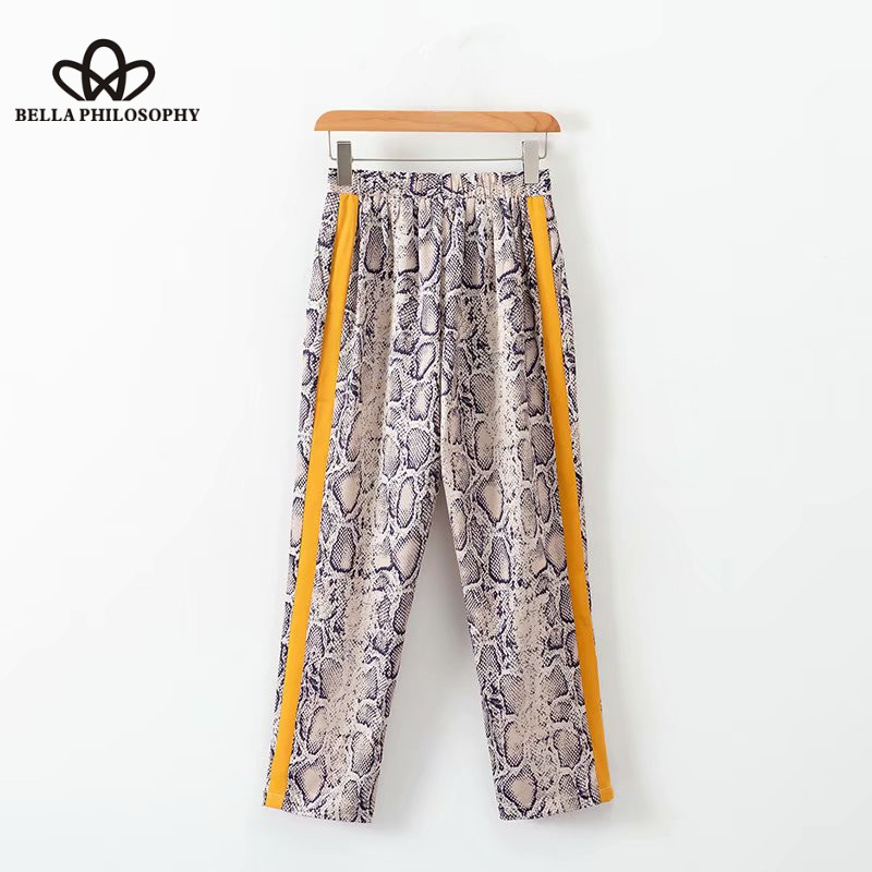 Bottoms Wonder 2018 New Vintage Snake Skin Print Side Stripe Pants Ankle Length Elastic Waist Pocket Trousers Female Sexy Leisure Pants Women's Clothing