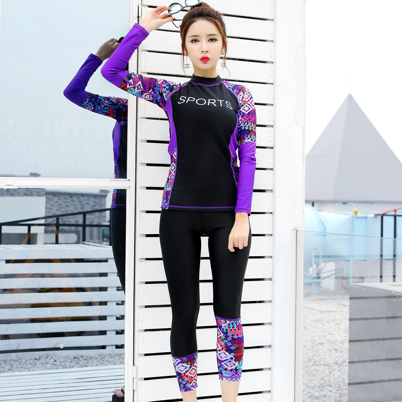 2017 <font><b>women</b></font> <font><b>Swimming</b></font> <font><b>Suit</b></font> <font><b>Full</b></font> Body Covered Surfing <font><b>Suit</b></font> Long <font><b>Sleeves</b></font> Long Pants Rash Guards Two Piece <font><b>Suits</b></font> <font><b>Women</b></font> Swimwear image