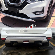 цена на Front + Rear Bumper Protector Skid Plate 2pcs For Nissan Rogue X-Trail 2017