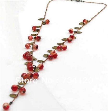 Fashion Jewelry For Women Korean Fashion Vine Red Cherry Necklace Hot Sales free shipping