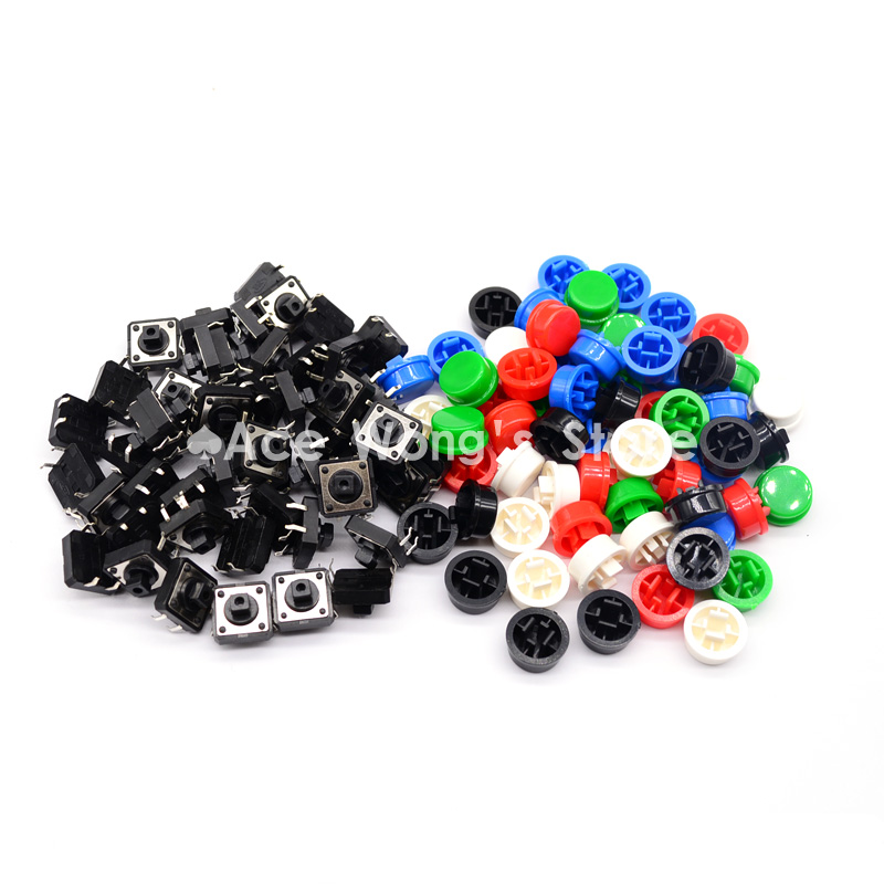 100PCS Black head Tactile Push Button Switch Momentary 12*12*7.3MM Micro switch button + (5 colors * 20pcs =100pcs  Tact Cap) 7 x 7mm x 16mm black cap push button tactile tact switch lock 6 pin dip