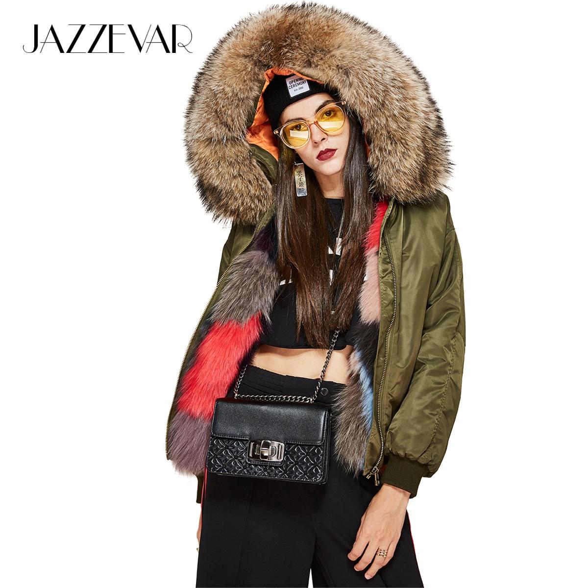 JAZZEVAR 2019 nowa moda zima ulicy kobiet luksusowe multicolor lisa futrzana podszewka kurtka bomber duża szopa futro parka z futra w Parki od Odzież damska na  Grupa 1