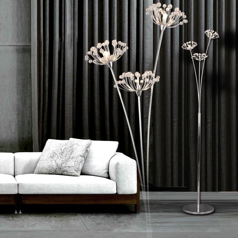US $191.7 29% OFF|Modern floor lamp LED Metal Crystal flower floor Lights  Dandelion standing lamps Bedroom Bedside living room Light Fixtures-in  Floor ...
