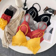 Sexy Lace Triangle Cup Bra Sets for Women Wireless Thin Cotton Breathable Comfortable Underwear Floal Lingerie Set