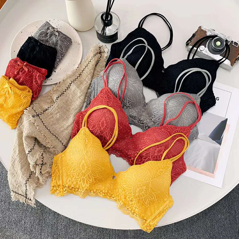Sexy Lace Triangle Cup   Bra     Sets   for Women Wireless Thin Cotton Breathable Comfortable Underwear Floal Lace Lingerie   Set