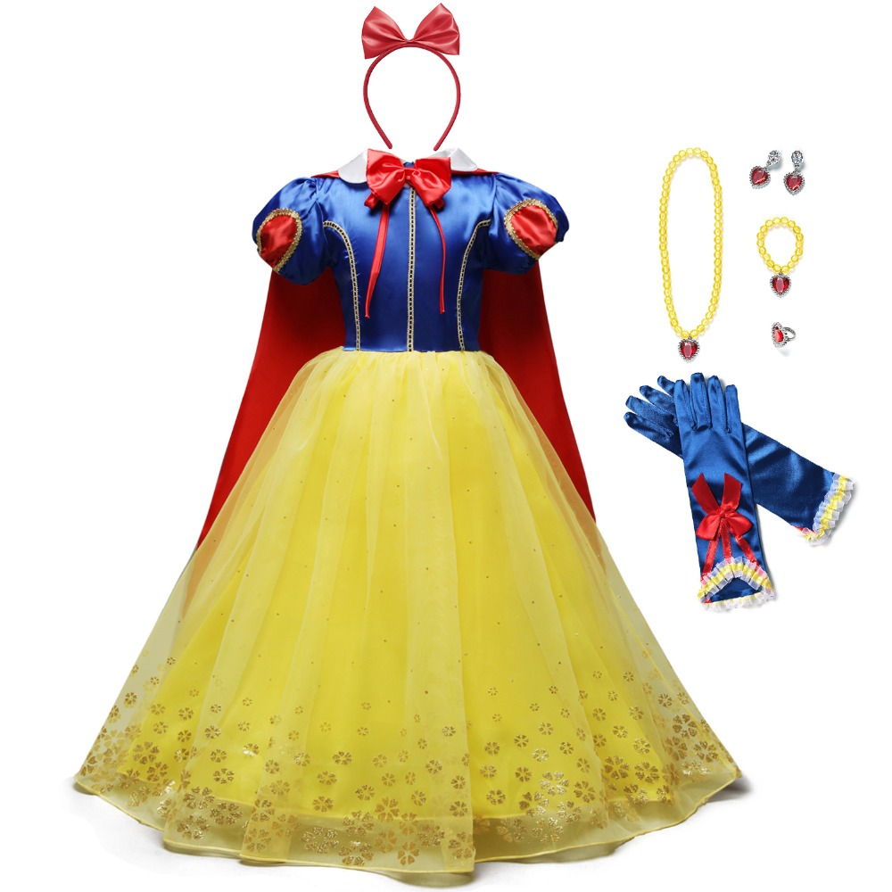 YOFEEL Princess Snow White Dress Up Costume For Girls Kids Puff Sleeve Costumes With Long Cloak Child Party Birthday Fancy Gown