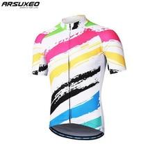 цена на ARSUXEO Mens Cycling Jersey Short Sleeves Mountain Bike Bicycle Shirts MTB Road Jersey Reflective Zipper Pockets
