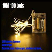 1pc Set White Led String Lights Fairy Powered By 3AA Battery Decor Party Wedding Patio Bedroom