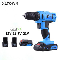 XLTOWN 12/16.8/21v Multifunction Electric Screwdriver with 2 battery Rechargeable Lithium Battery Electric Screwdriver Tools