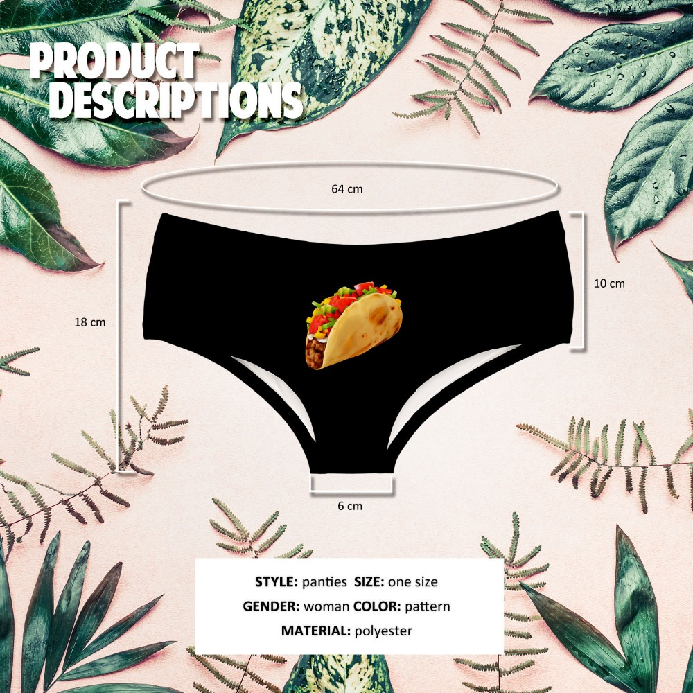 LEIMOLIS TACO black funny print sexy hot panties female kawaii Lovely underwear push up briefs women lingerie thongs in women 39 s panties from Underwear amp Sleepwears