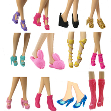 Randomly Picked 10 Pairs Colorful Assorted Fashion Colorful Doll Shoes Heels Sandals For Barbie Dolls Accessories