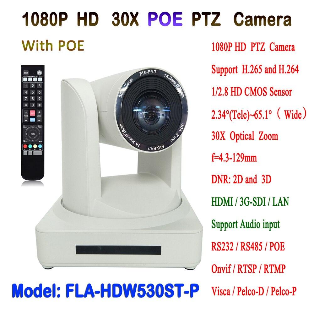 1080 P 60fps 30X Zoom óptico Visca y Pelco-D/P HDMI y salida SDI HD IP POE PTZ vídeo conferencia