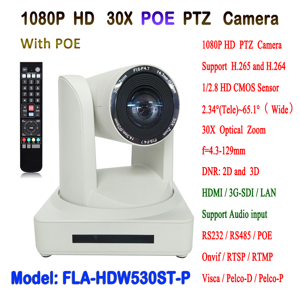 1080P 60fps 30X Optical Zoom Visca & Pelco-D/P HDMI and SDI Output HD IP POE PTZ Video Conference Camera