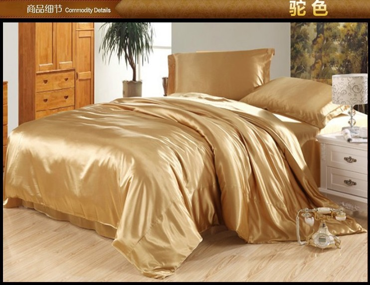 Camel tan silk bedding set satin sheets queen full quilt - Drap housse king size ...