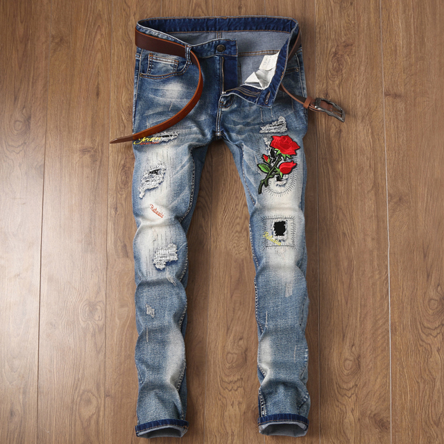 men s biker flower design patches embroidered jeans men casual snake