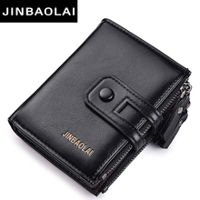 Tri-bifold Wallet Purse PU Leather Mens Hasp Design Small Wallets With Zipper Coin Pocket Card Holder Luxury